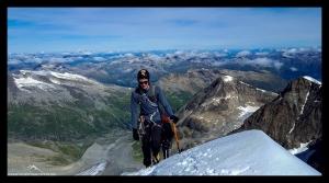 Lukas auf dem Weg zum Piz Bernina