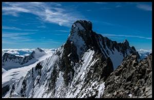 Der Grat zum Piz Bernina mit diversen Bergsteigern