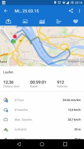 GPS-Track aufgenommen mit Runtastic