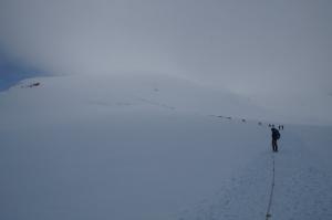Menschenschlange am Breithorn