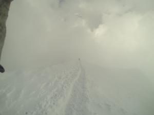 Gipfelgrat am Pollux - Sicht quasi null