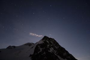 Stern klarer Himmel im Eiswand-Biwak