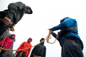 Marc zeigt uns ein paar Bergführer-Tricks