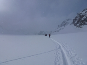 Im Nebel Richtung Jamtalspitze