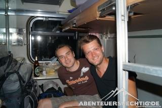 Flo und Dennis in ihrem 1. Klasse-Abteil
