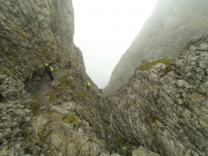 Auf dem Klettersteig ist jede Menge los