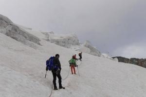 Wir passieren den Gletscherbruch am Piz Palü
