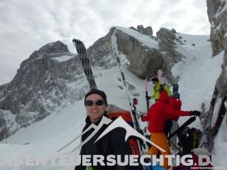 Skipacken für Aufstieg zum Felsriegel