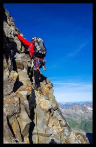 Luftige Klettereien am Biancograt.