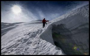 Das Seil als Verbindung zwischen den Bergsteigern und als Schutz vor dem Absturz.