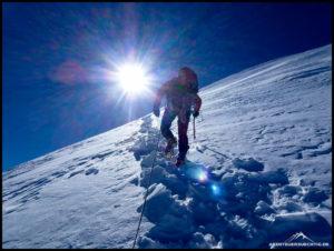 Motivation durch den Seilpartner sportn zu Höchstleistungen an, wie hier am Mont Blanc.