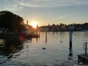 Noch eine kurze Pause in Luzern, den Sonnenuntergang genießen.